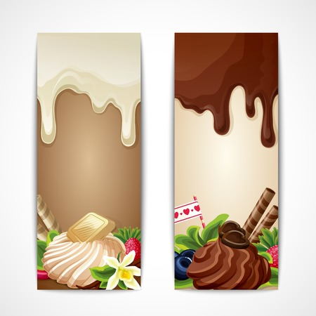 Sweets dessert food dark and white chocolate vanilla berries banners vertical vector illustration Illustration