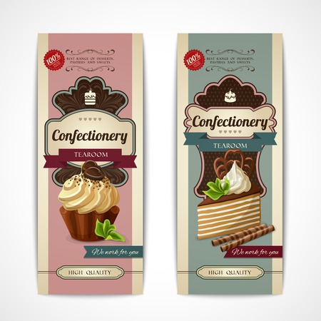 tearoom: Decorative sweets vertical retro banners collection with layered cake and cupcake isolated vector illustration