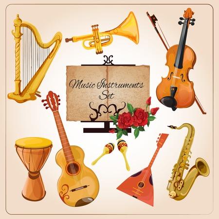 orquesta clasica: Instrumentos de conjunto de la orquesta de cámara clásica arpa iconos cuerno violín composición anuncio boceto a color del cartel, ilustración, vector