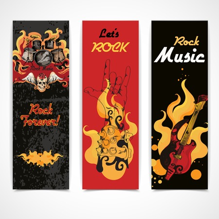 cymbals: Jazz rock music festival concert banners set with electric guitar drums cymbals flames abstract isolated  vector illustration