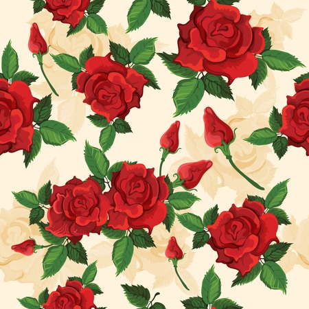 voluptuous: Bright red voluptuous fully opened roses retro seamless pattern for gift and presents wrapping paper vector illustration