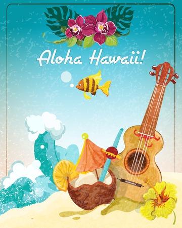 Hawaii gitaar tropische strandvakantie reclameposter met kokos verfrissing colada drankje schets kleur abstracte vector illustratie