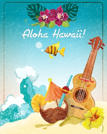 Hawaii guitar tropical beach vacation advertisement poster with coconut refreshment colada drink sketch color abstract vector illustration Vector