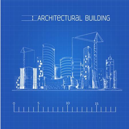 dibujo tecnico: Modernos edificios residenciales del distrito de negocios urbanos y el paisaje urbano edificio industrial dibujo técnico arquitectónico proyecto original ilustración vectorial