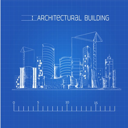 Modern residential urban business district buildings and industrial edifice cityscape architectural technical drawing blue print vector illustration