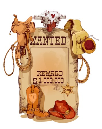 west: Old fashion wild west wanted reward vintage poster with horse saddle revolver cowboy backpack sketch abstract vector illustration Illustration