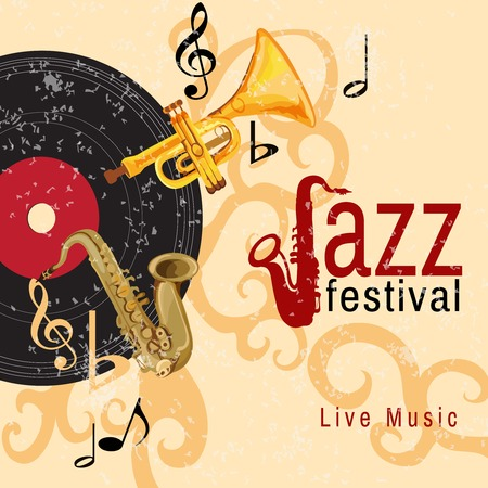 Jazz retro music festival concert live horn performance poster with black vinyl gramophone record abstract vector illustration Vector