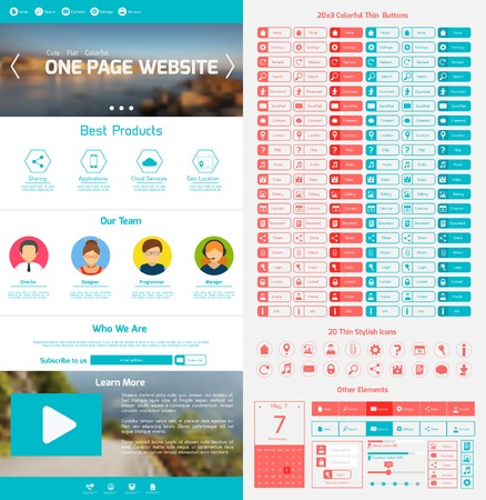 page layout: One page website design template with menu icons and navigation layout elements vector illustration