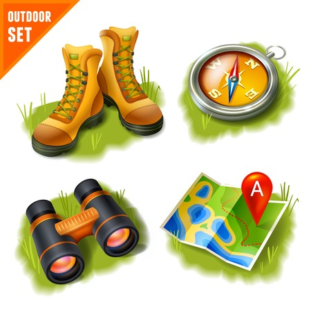 Camping summer outdoor activity recreation and adventure decorative icons set isolated vector illustration