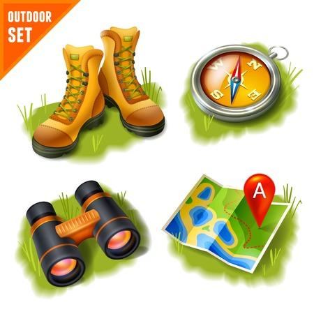 Camping estive attività ricreative all'aperto e di avventura decorativo set di icone, illustrazione vettoriale