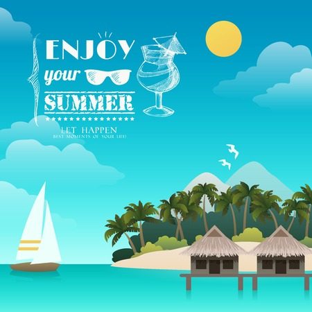 seaside resort: Tropical island enjoy your summer background vector illustration