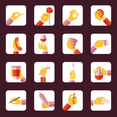 people holding sign: Human hands holding objects repair eating tools flat icons set isolated vector illustration Illustration