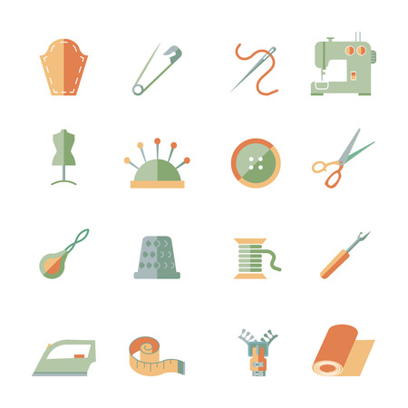 Sewing equipment and dressmaking accessories icons set flat isolated vector illustration Vector
