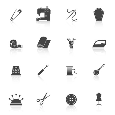 sewing button: Sewing equipment and dressmaking accessories icons set black isolated vector illustration