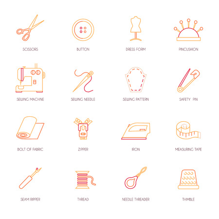 seam: Sewing equipment and dressmaking accessories icons set flat line isolated vector illustration