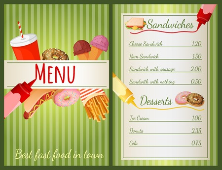 Fast food restaurant menu with sandwiches and desserts vector illustration Vector