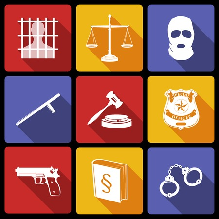 computer crime: Law legal justice white on flat icons set with badge gavel gun isolated vector illustration