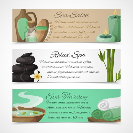 spa relax: Spa salon relax therapy alternative medicine horizontal banners set isolated vector illustration Illustration