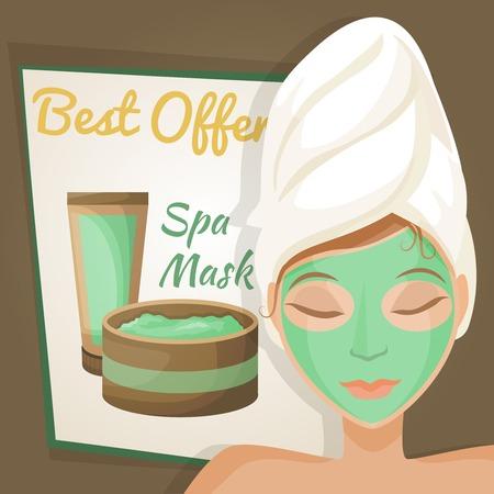 rock salt: Woman with face mask on spa healthcare salon procedure poster vector illustration