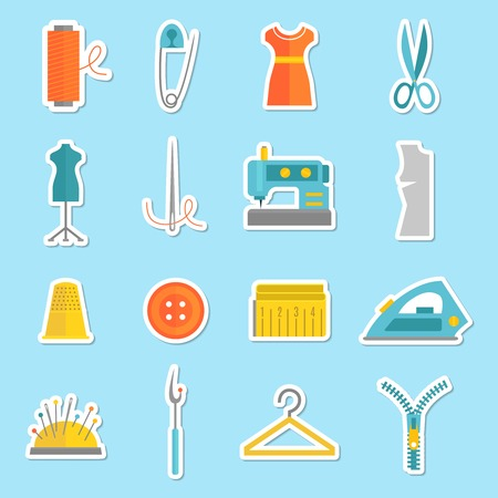 thimble: Sewing equipment and tailor needlework stickers set with button thimble pin isolated vector illustration Illustration