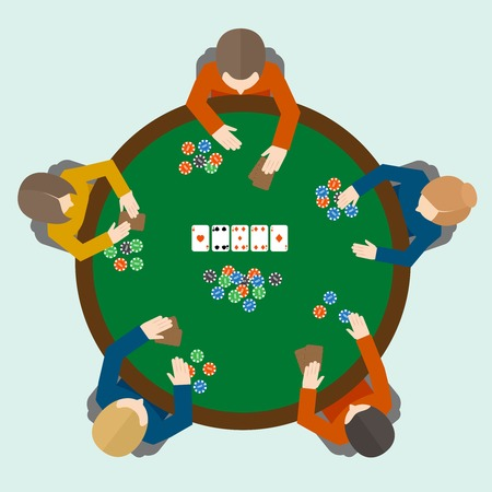 People playing poker game on the table top view vector illustration Vector