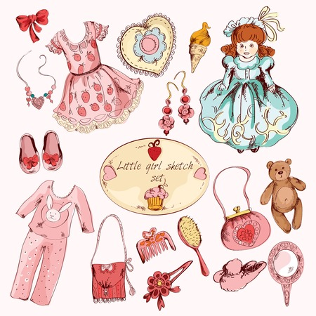 belongings: Little girl pink room accessories belongings set with dress toy bear doll abstract sketch  doodle vector illustration