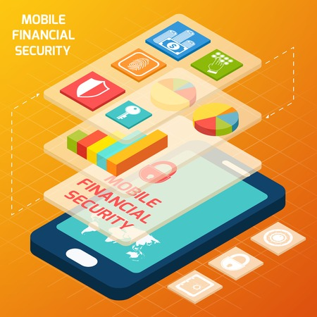 smartphone business: Isometric mobile financial secure and business elements with smartphone vector illustration