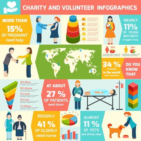 group of old people: Social responsibility and volunteer organization infographic set vector illustration Illustration