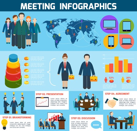 discussion: Business meeting brainstorming presentation discussion agreement infographics with charts vector illustration