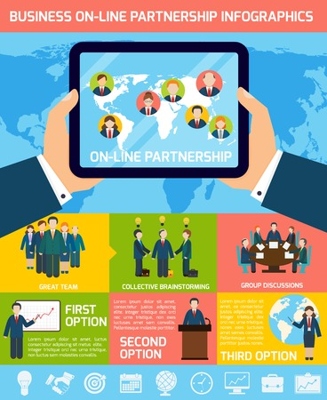 world group: Global business partnership infographics set with tablet and world map vector illustration