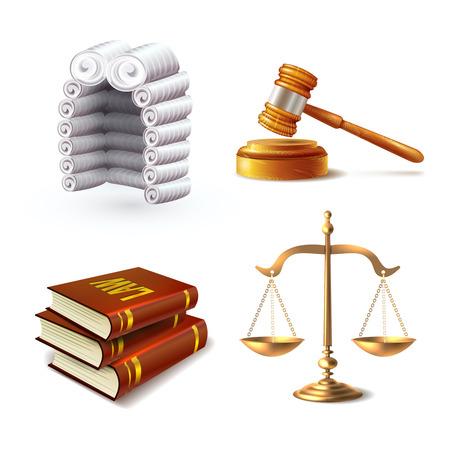 Law Rechts Gerechtigkeit Symbole mit Richter Perücke Hammer Bücher und Skalen isoliert Vektor-Illustration gesetzt Vektorgrafik