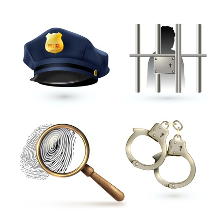 Law legal justice police icons set with officer hat handcuffs fingerprints isolated vector illustration Vector