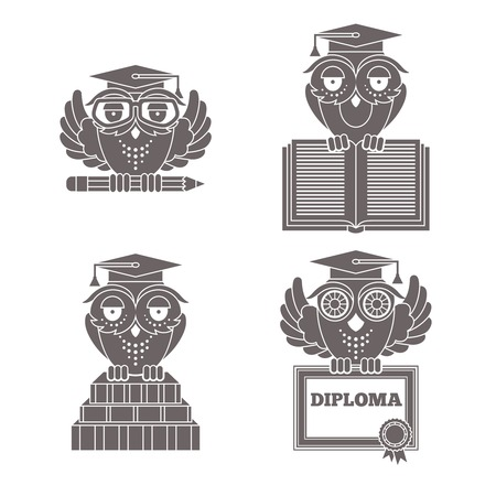 Black owl in graduation caps with books and diploma silhouette set isolated vector illustration Vector