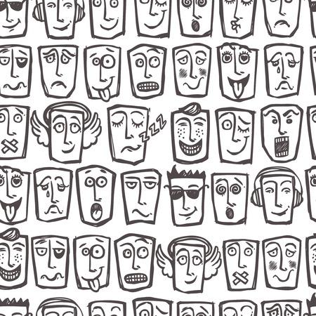 face expressions: Emoticons Sketch expresiones faciales hombre y el car�cter de ilustraci�n sin patr�n vector