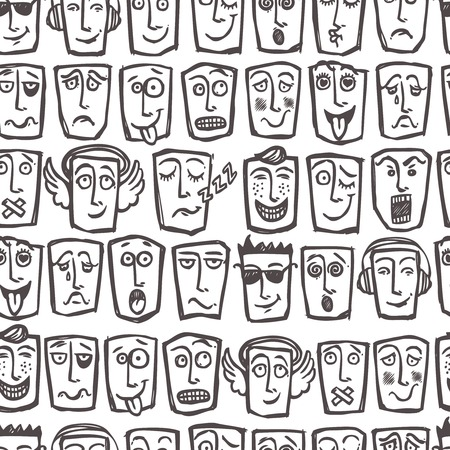 Sketch emoticons man face expressions and character seamless pattern vector illustration Vector