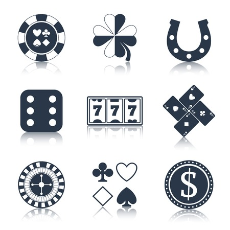 lucky clover: Casino black design elements with clover horseshoe chips icons set isolated vector illustration