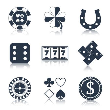 fichas casino: Casino elementos de diseño negro con chips de herradura trébol iconos conjunto aislado ilustración vectorial Vectores