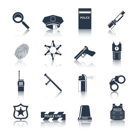 Police crime and justice black icons set with handcuffs fingerprints baton isolated vector illustration Vector