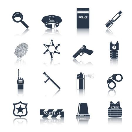 estafette stokje: Politie misdaad en rechtvaardigheid zwarte pictogrammen die met geïsoleerd handboeien vingerafdrukken stokje vector illustratie