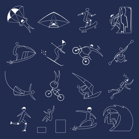 Extreme sports icons outline set of fun leisure holidays isolated vector illustration Vector