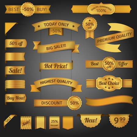 golden ribbon: Discount best sale offer retro golden ribbon set isolated vector illustration