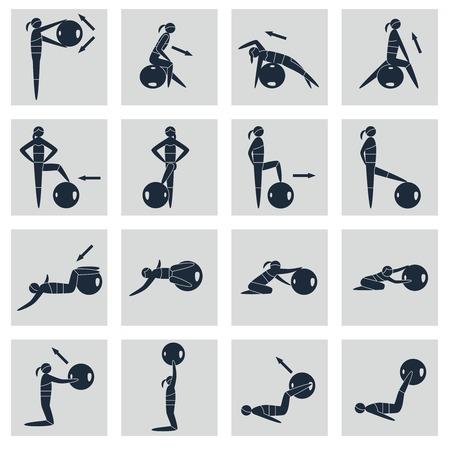 fitness ball: Siluetas de las mujeres con aislados Iconos de equipos de deporte de la bola de la aptitud conjunto negro ilustraci�n vectorial