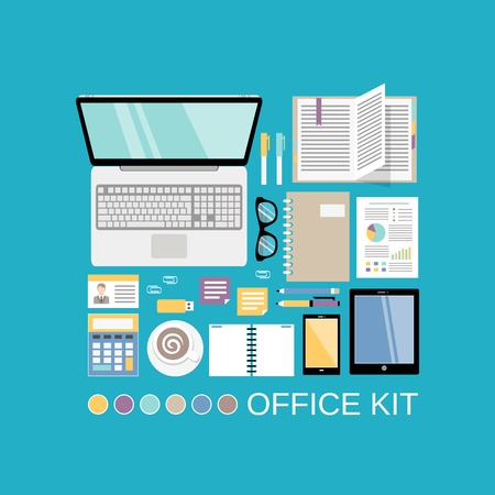 documents icon: Businessman office workplace kit with decorative elements vector illustration
