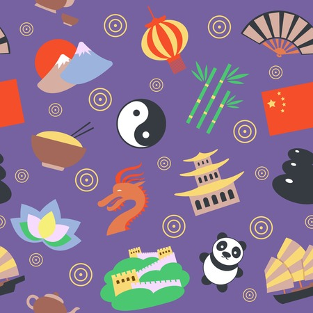 chinese culture: China travel traditional culture symbols seamless pattern vector illustration