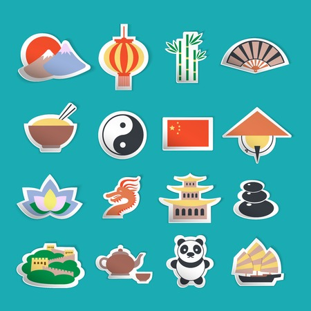 old people: China travel traditional culture symbols stickers set isolated vector illustration Illustration
