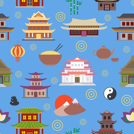 chinese temple: Chinese house and traditional culture symbols seamless pattern vector illustration