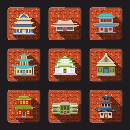 Chinese house traditional wooden oriental buildings icons set with tile background isolated vector illustration Vector