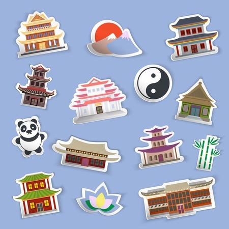 Casa chino y símbolos de la cultura tradicionales pegatinas aislados ilustración vectorial