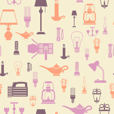 Flashlight and lamps electric bulbs seamless pattern vector illustration Vector