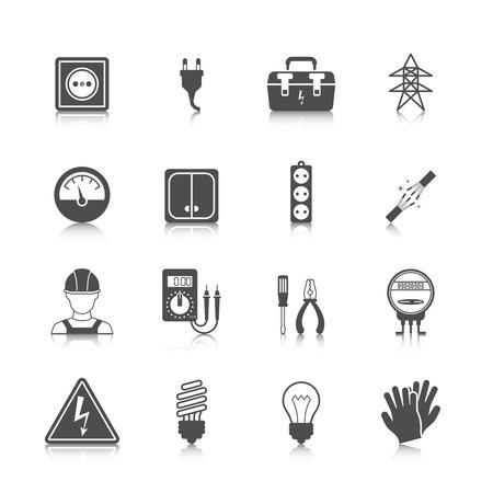 spark plug: Electricity icon black set with plug socket power station isolated vector illustration